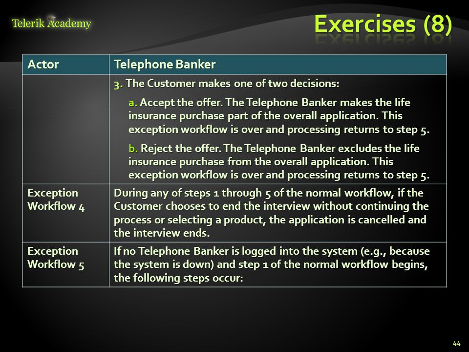 Exercises (8) Actor Telephone Banker
