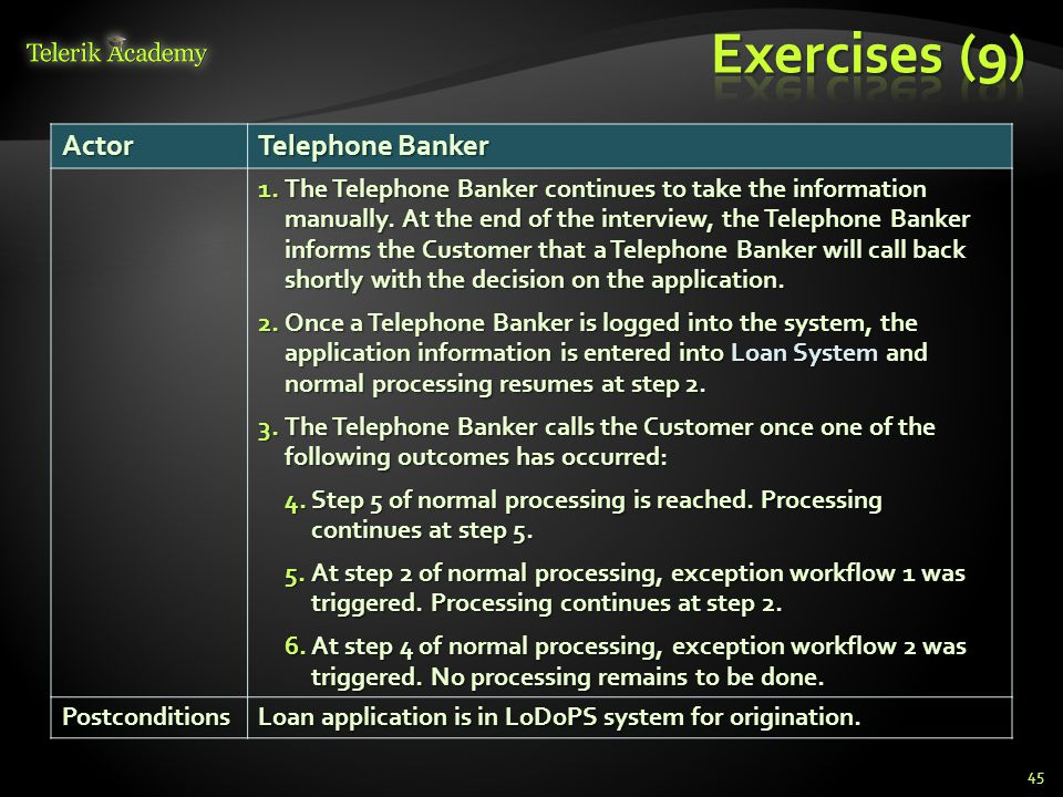 Exercises (9) Actor Telephone Banker