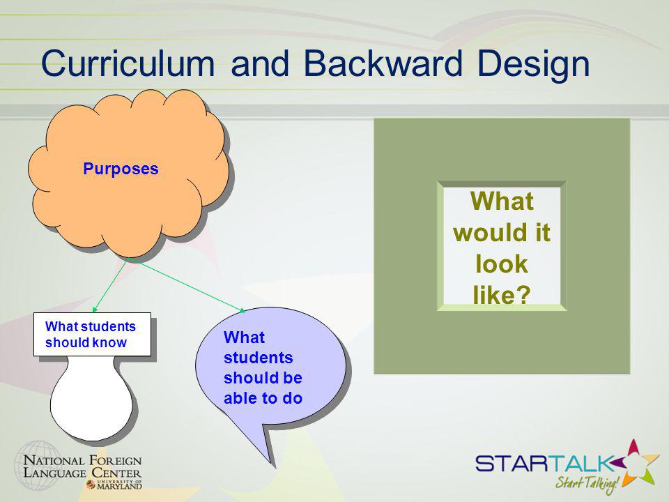 Curriculum and Backward Design