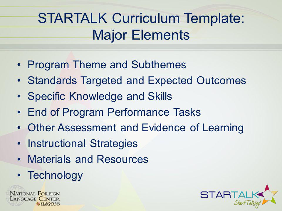 STARTALK Curriculum Template: Major Elements