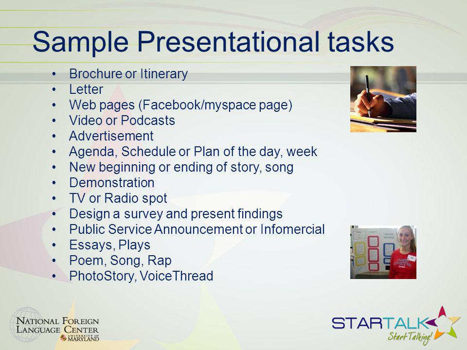 Sample Presentational tasks