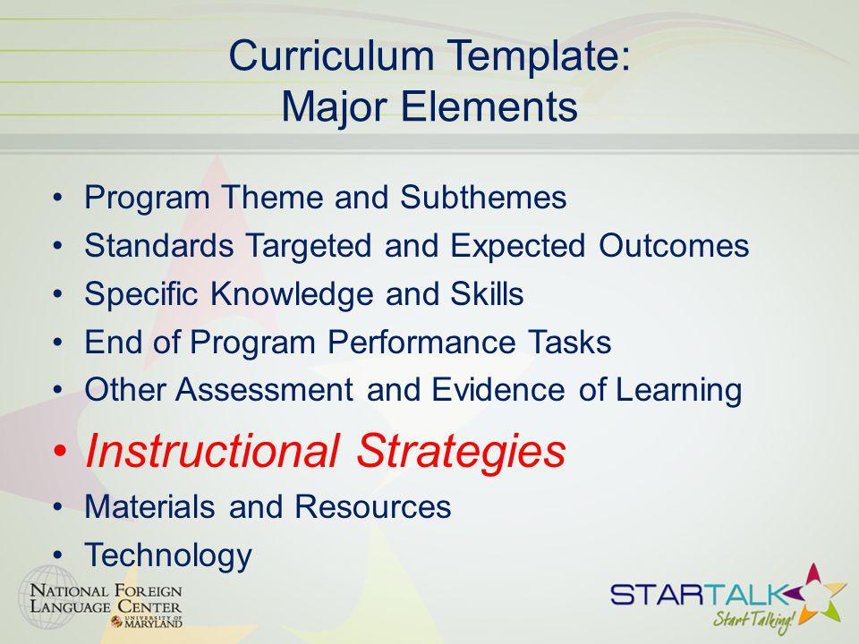 Curriculum Template: Major Elements