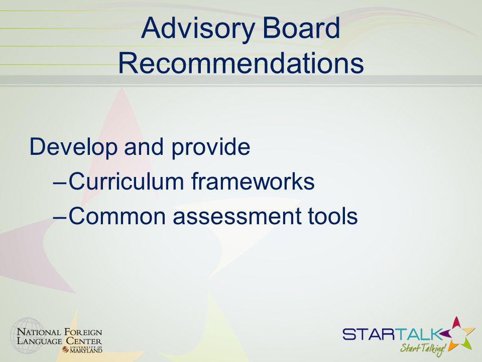 Advisory Board Recommendations