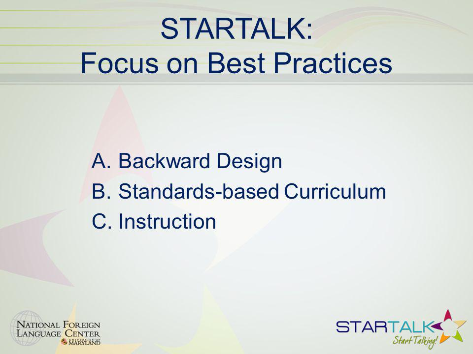 STARTALK: Focus on Best Practices