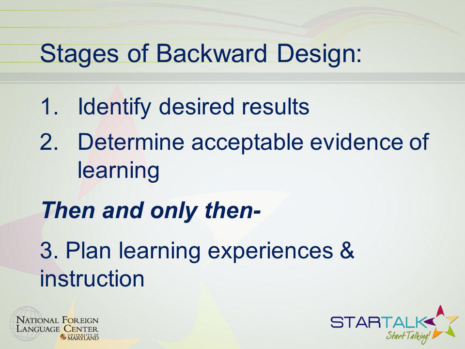 Stages of Backward Design:
