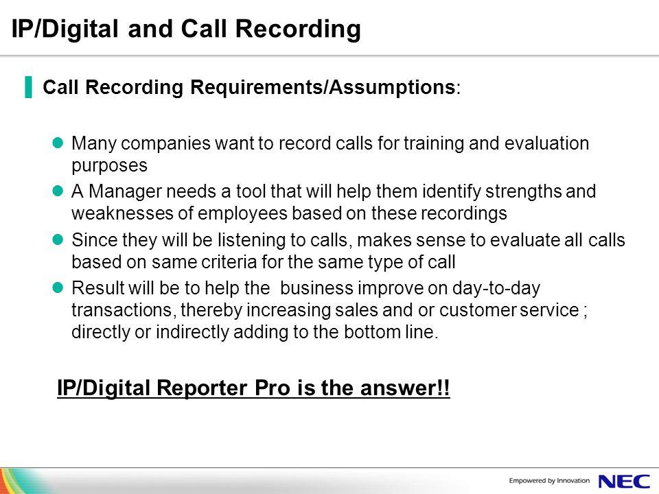IP/Digital and Call Recording