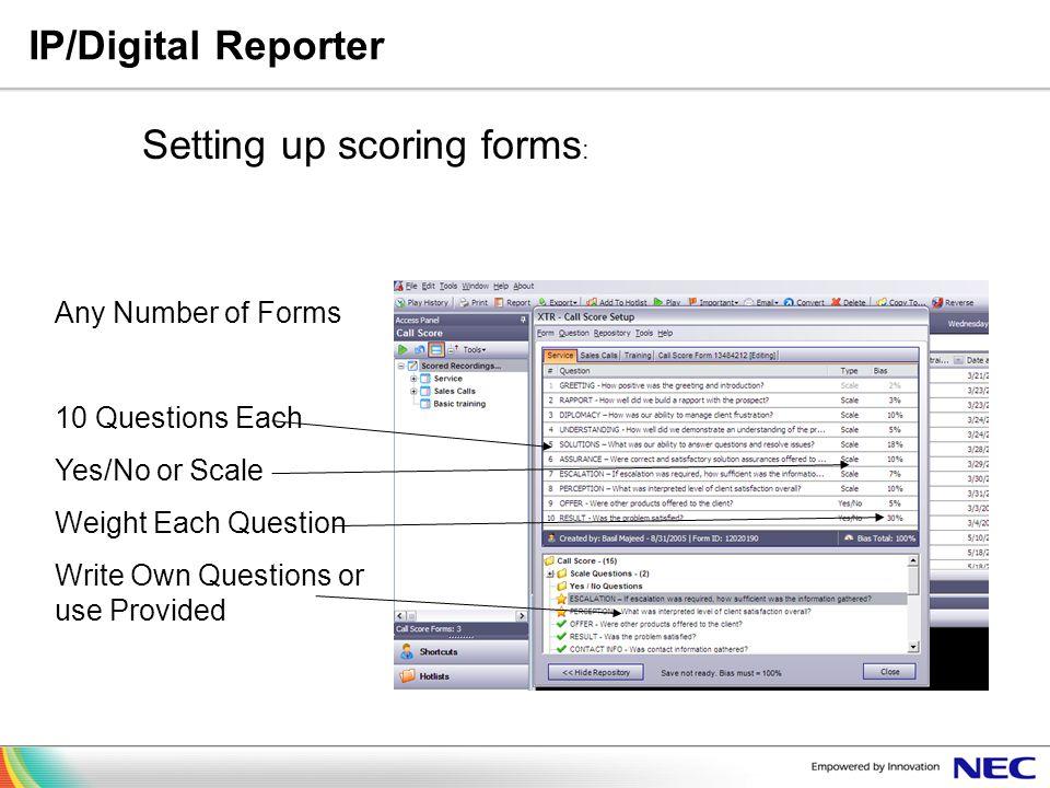 Setting up scoring forms: