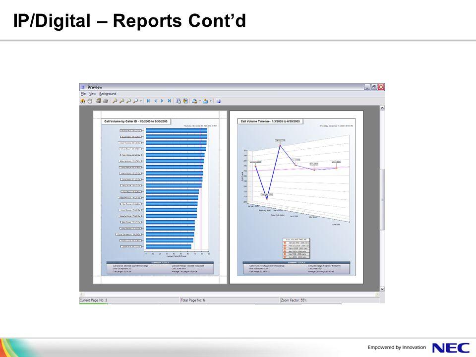IP/Digital – Reports Cont'd