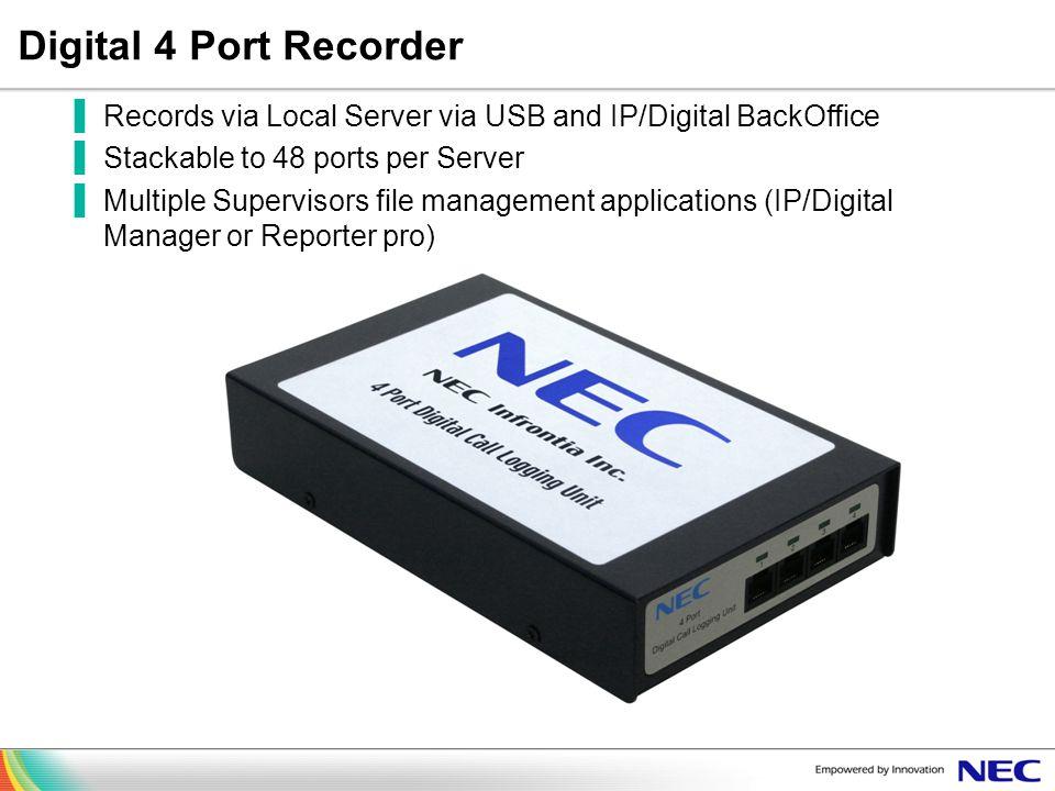 Digital 4 Port Recorder Records via Local Server via USB and IP/Digital BackOffice. Stackable to 48 ports per Server.