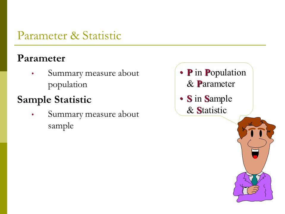 Parameter & Statistic Parameter Sample Statistic