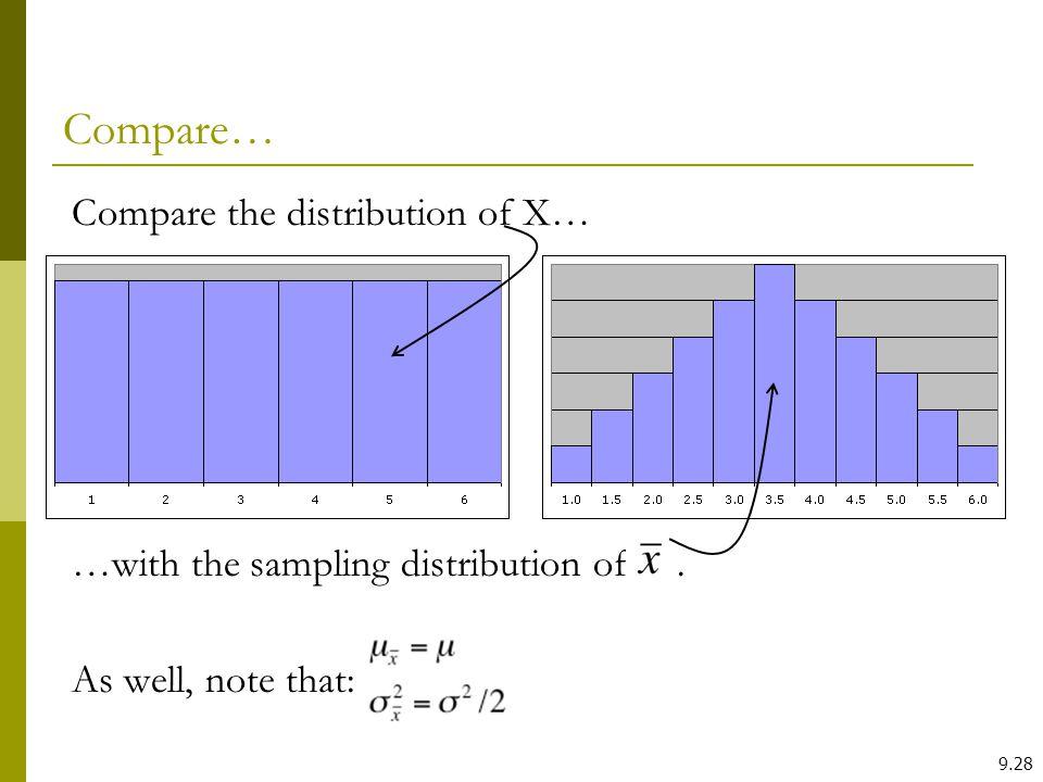 Compare… Compare the distribution of X…
