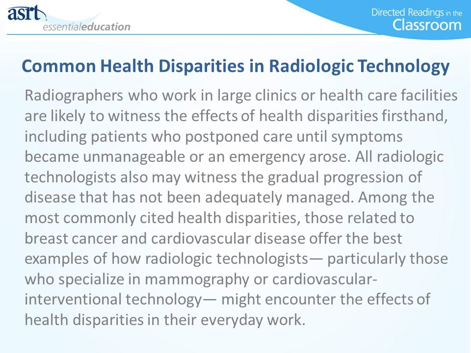 Common Health Disparities in Radiologic Technology