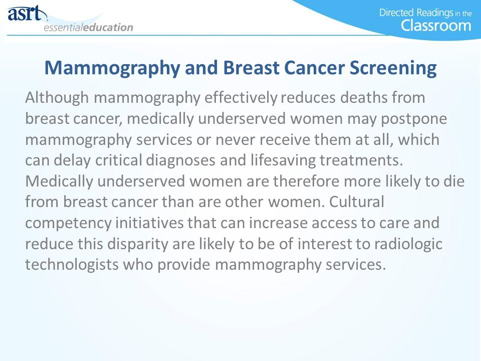 Mammography and Breast Cancer Screening