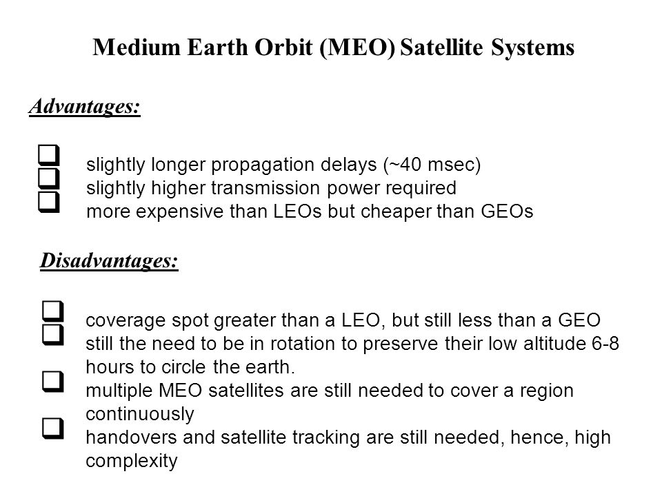Medium Earth Orbit (MEO) Satellite Systems