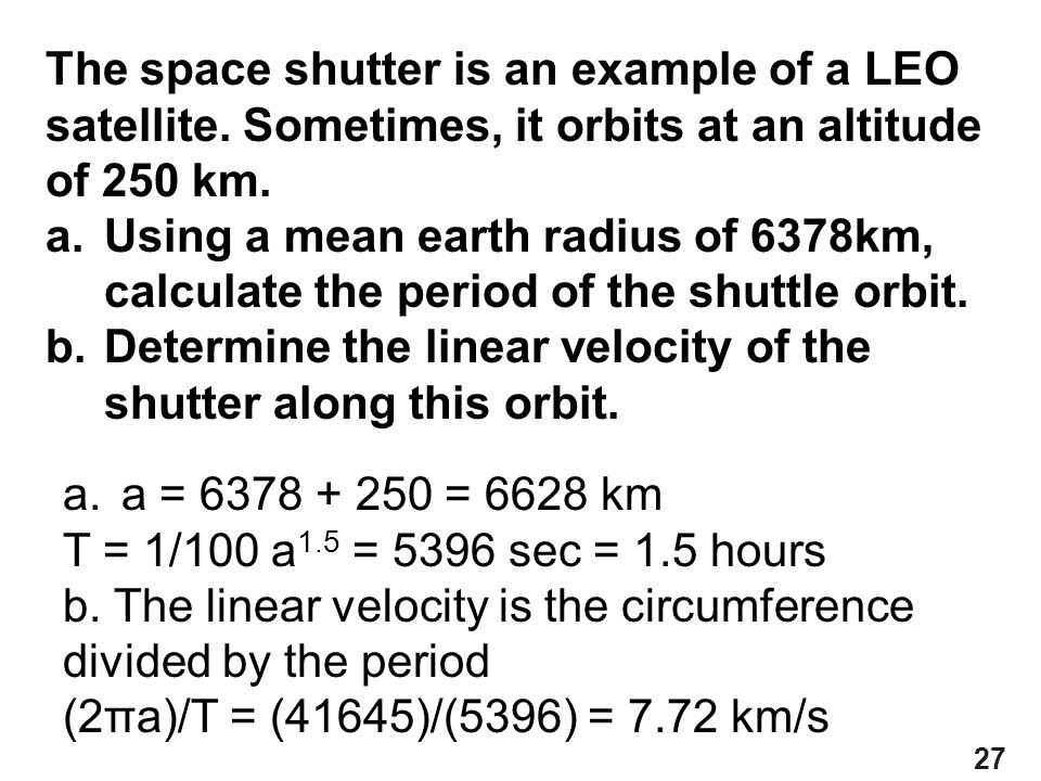 The space shutter is an example of a LEO satellite