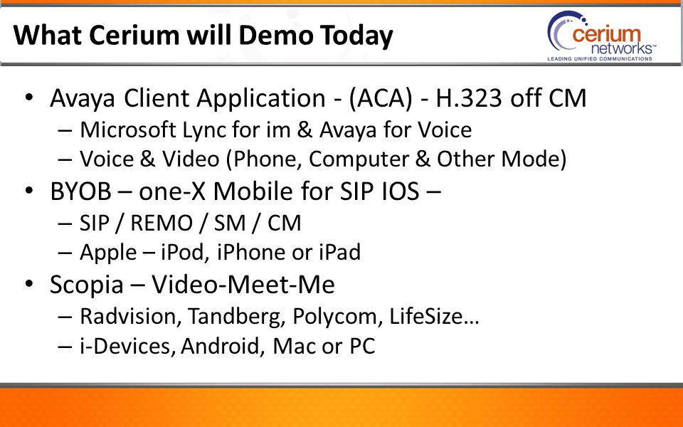 What Cerium will Demo Today