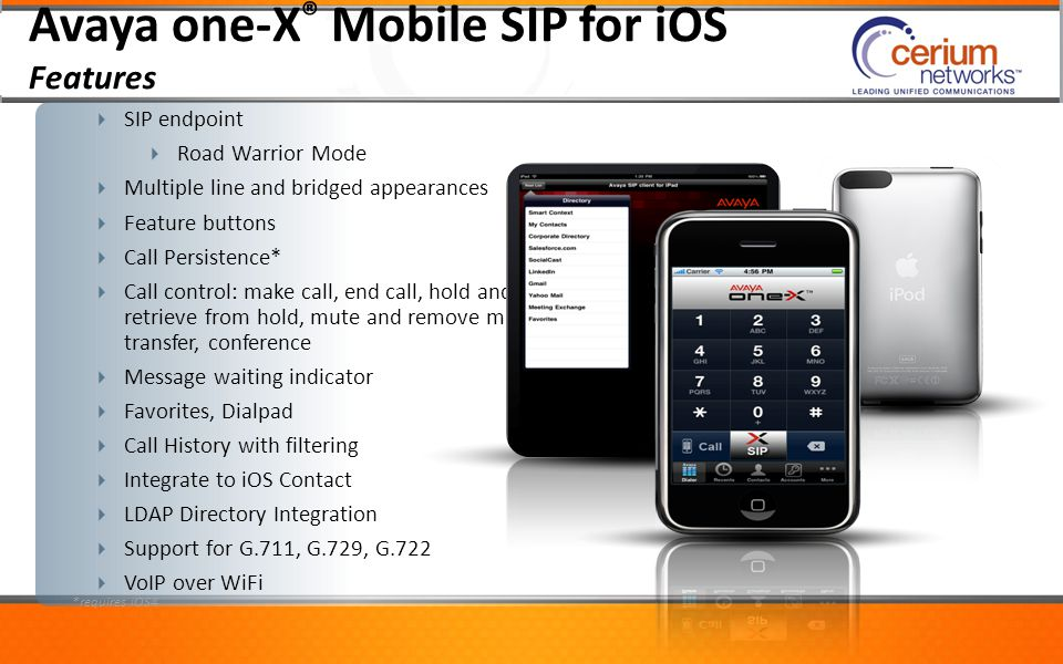 Avaya one-X® Mobile SIP for iOS Features