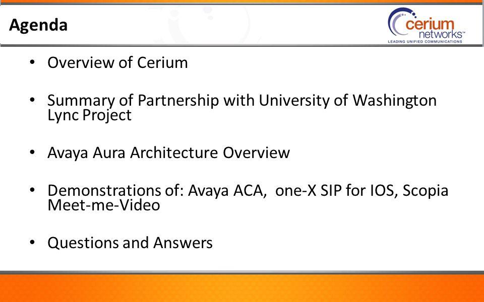 Agenda Overview of Cerium