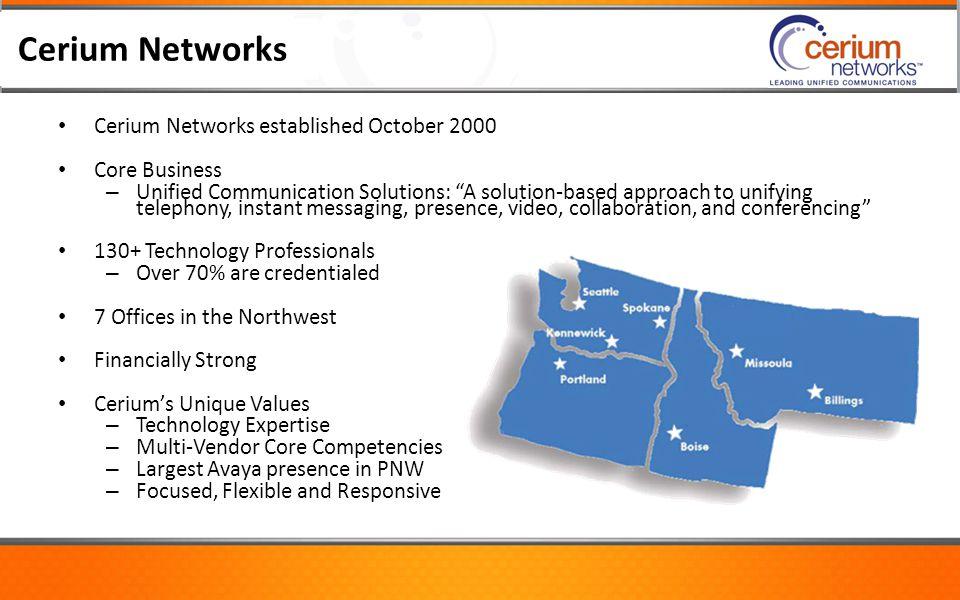Cerium Networks Cerium Networks established October 2000 Core Business
