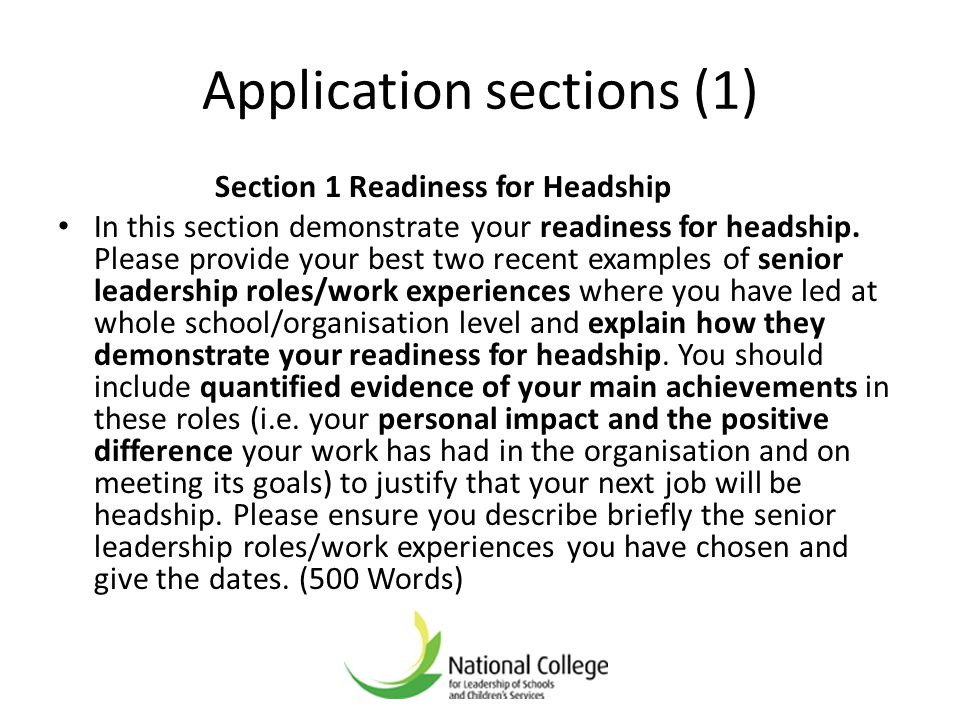Application sections (1)