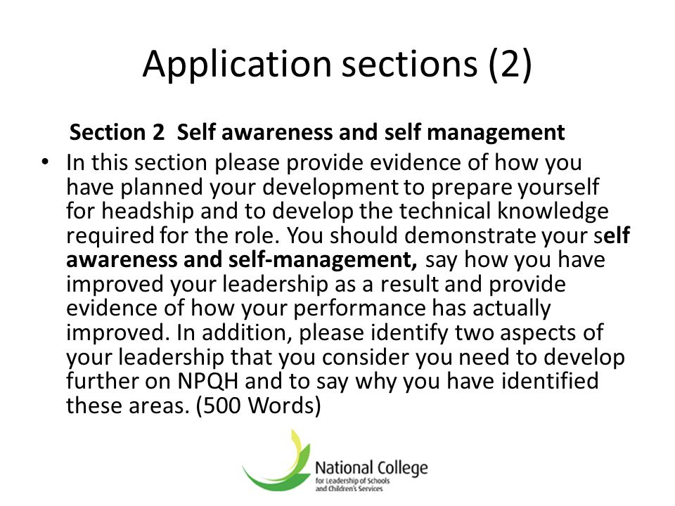 Application sections (2)