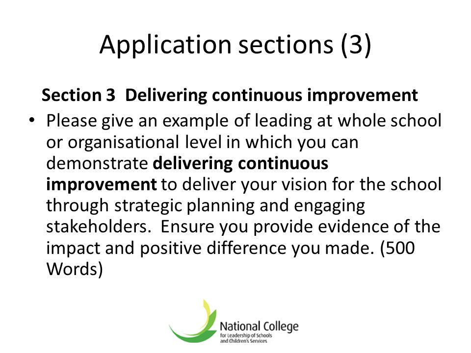 Application sections (3)