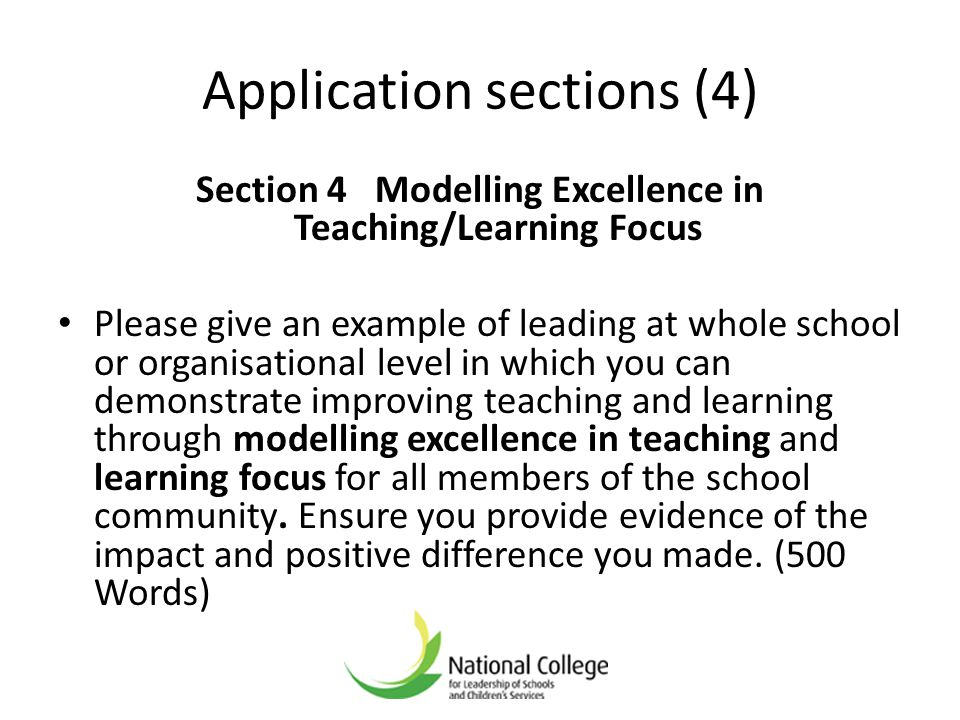 Application sections (4)