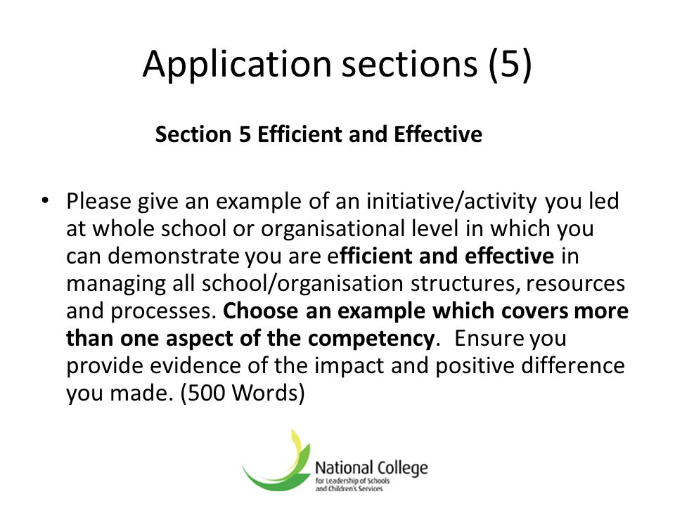 Application sections (5)