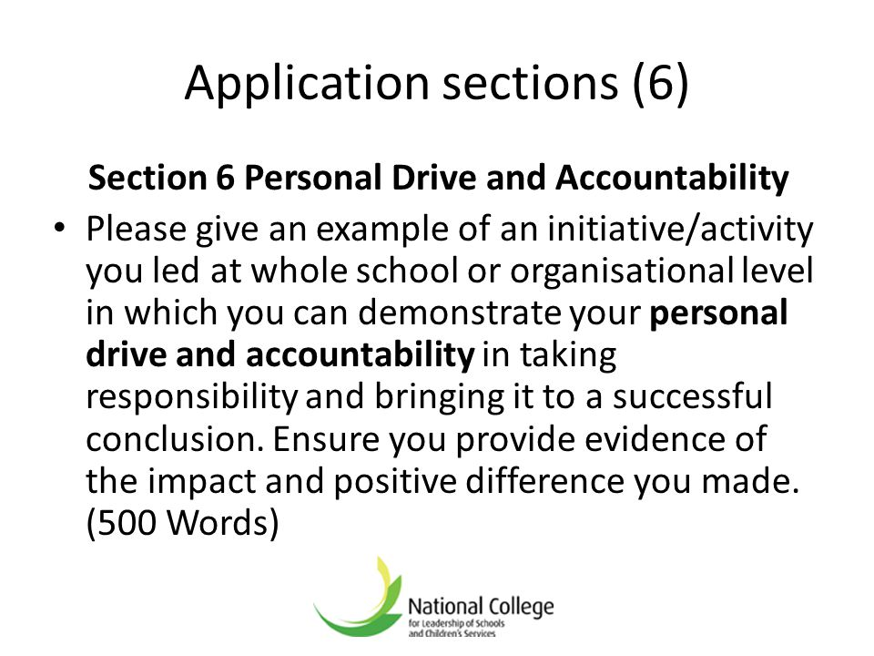 Application sections (6)