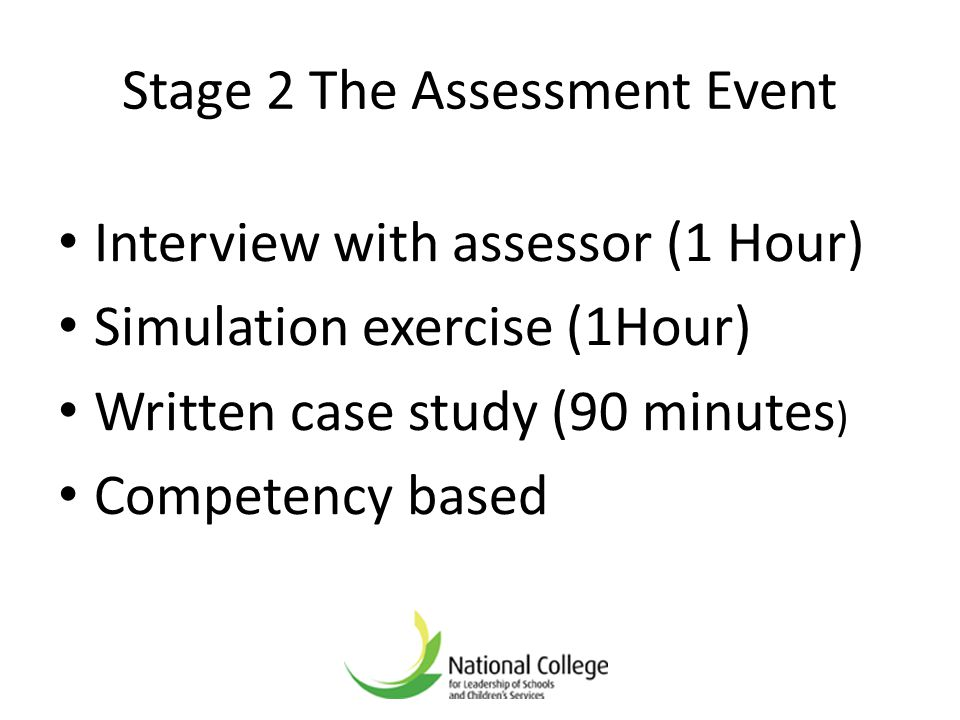 Stage 2 The Assessment Event