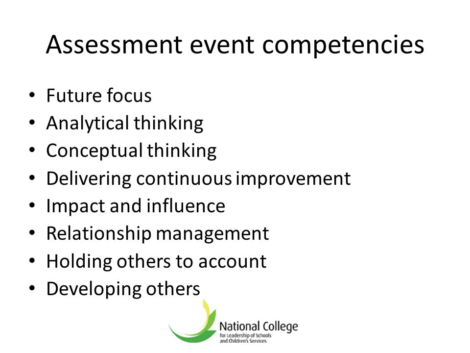 Assessment event competencies