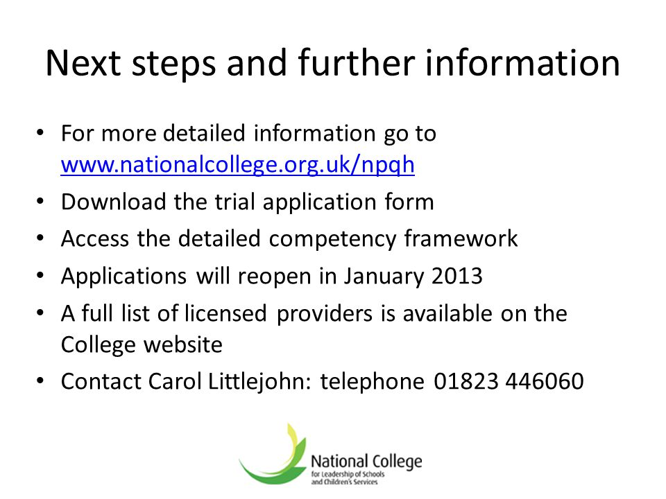 Next steps and further information