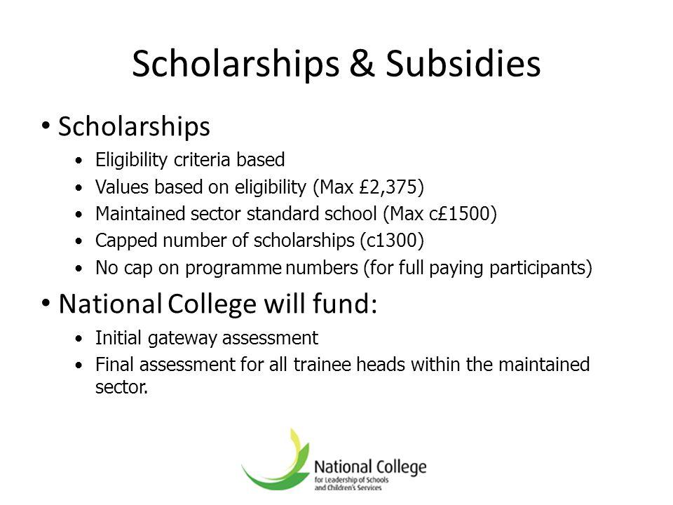 Scholarships & Subsidies