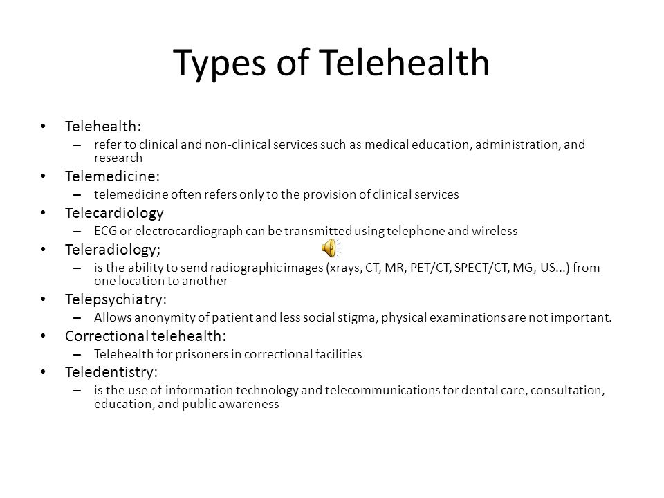 Types of Telehealth Telehealth: Telemedicine: Telecardiology