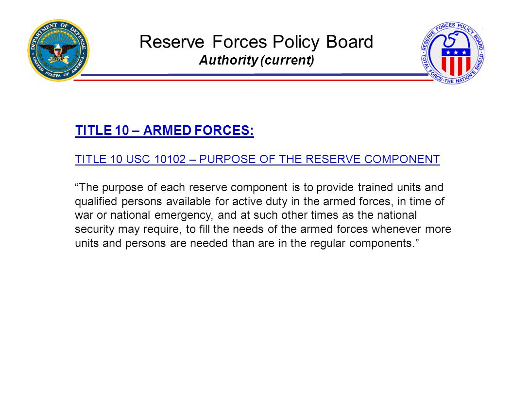 Reserve Forces Policy Board Authority (current)