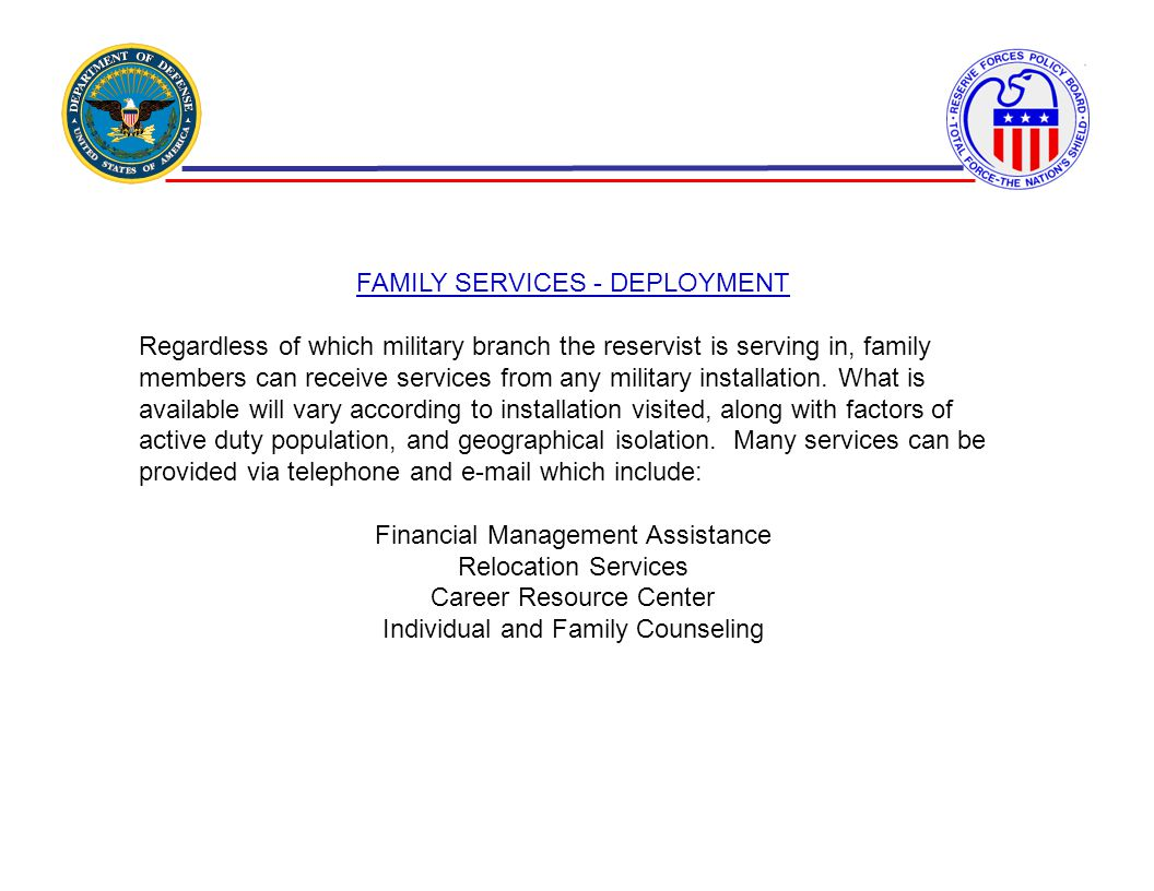 FAMILY SERVICES - DEPLOYMENT