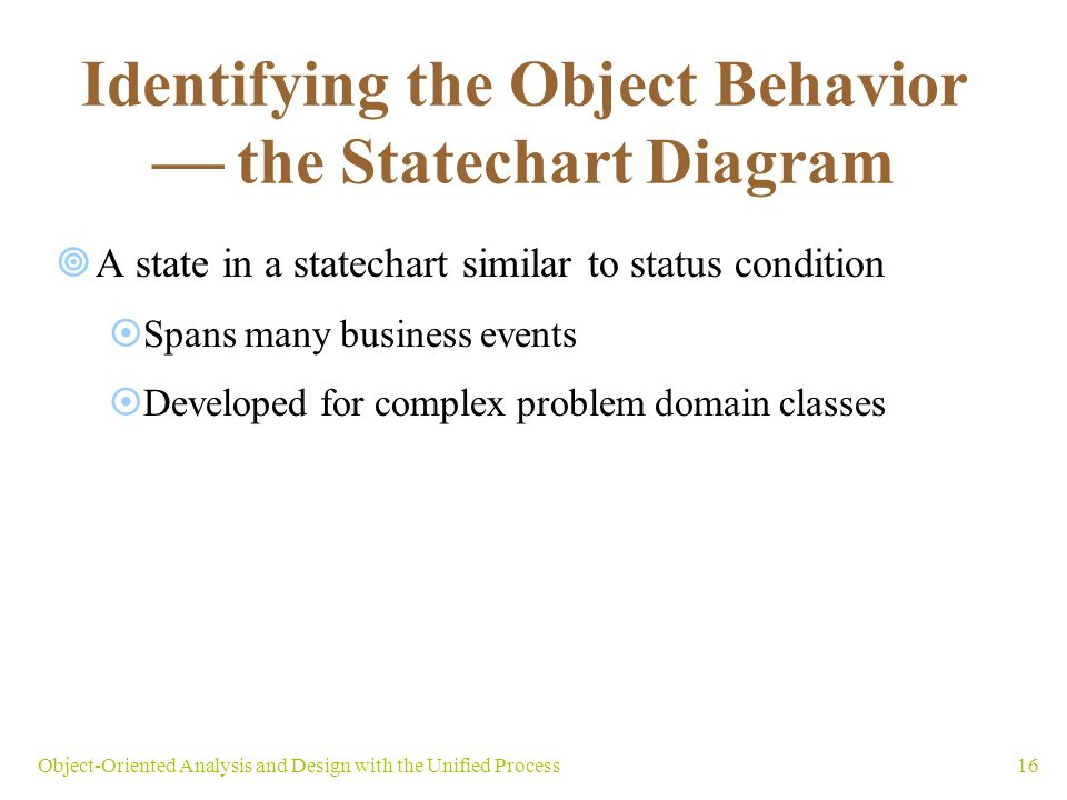 Identifying the Object Behavior  the Statechart Diagram