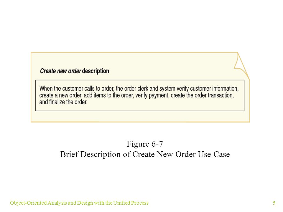 Brief Description of Create New Order Use Case