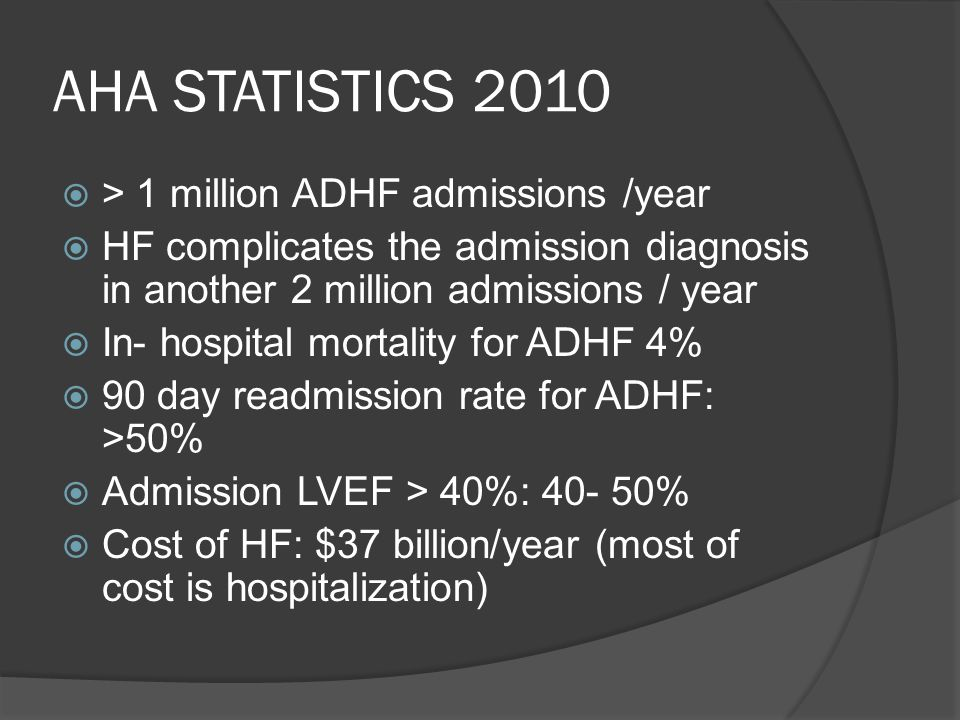 AHA STATISTICS 2010 > 1 million ADHF admissions /year