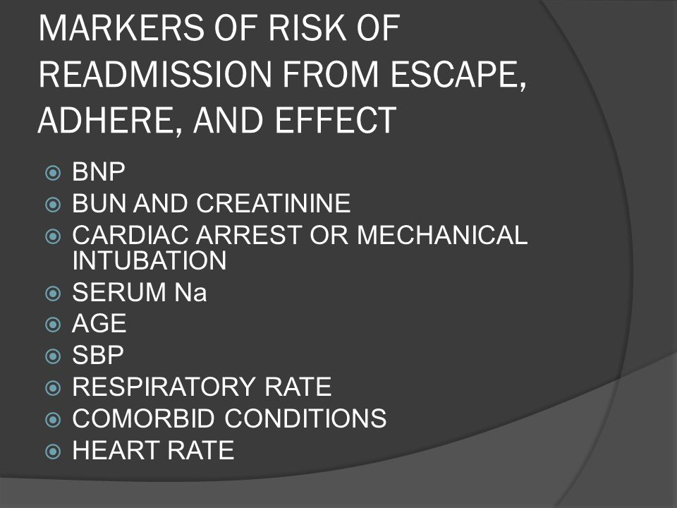 MARKERS OF RISK OF READMISSION FROM ESCAPE, ADHERE, AND EFFECT