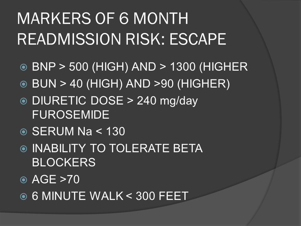 MARKERS OF 6 MONTH READMISSION RISK: ESCAPE