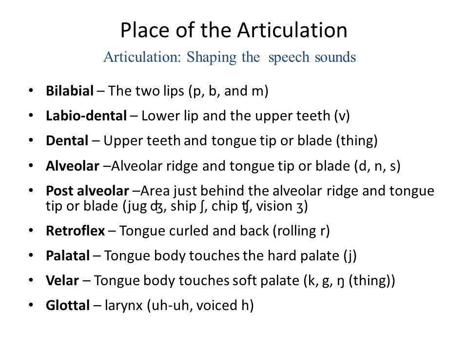 Place of the Articulation