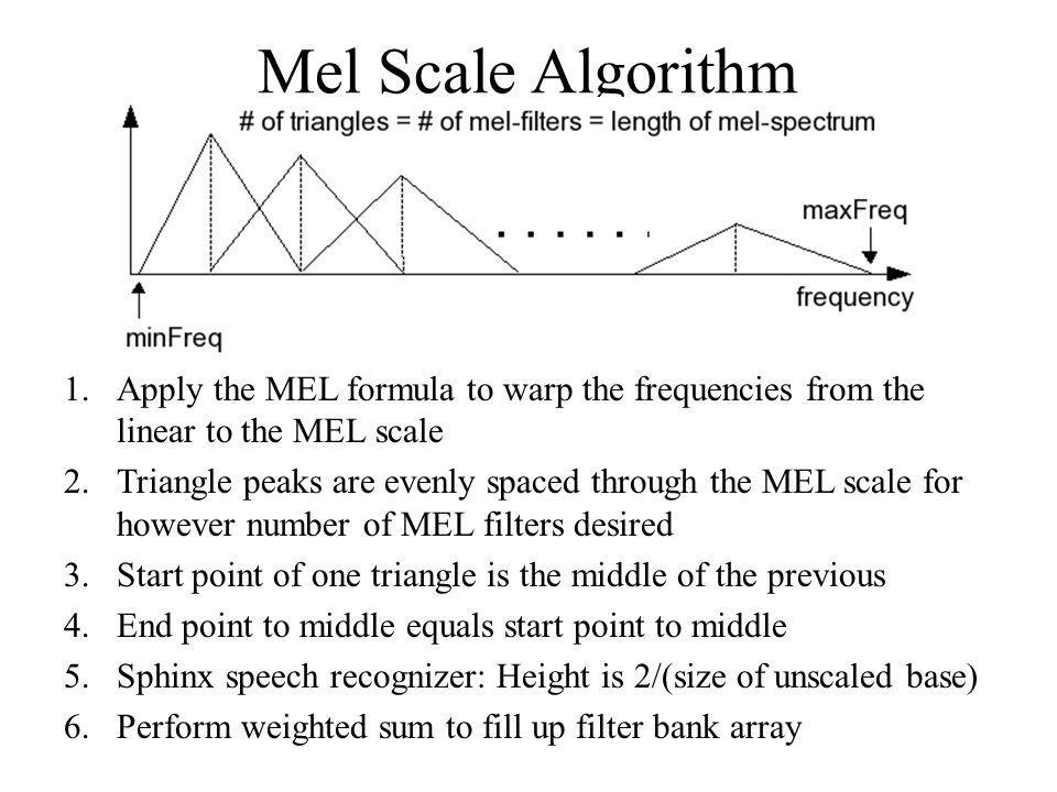 Mel Scale Algorithm Apply the MEL formula to warp the frequencies from the linear to the MEL scale.