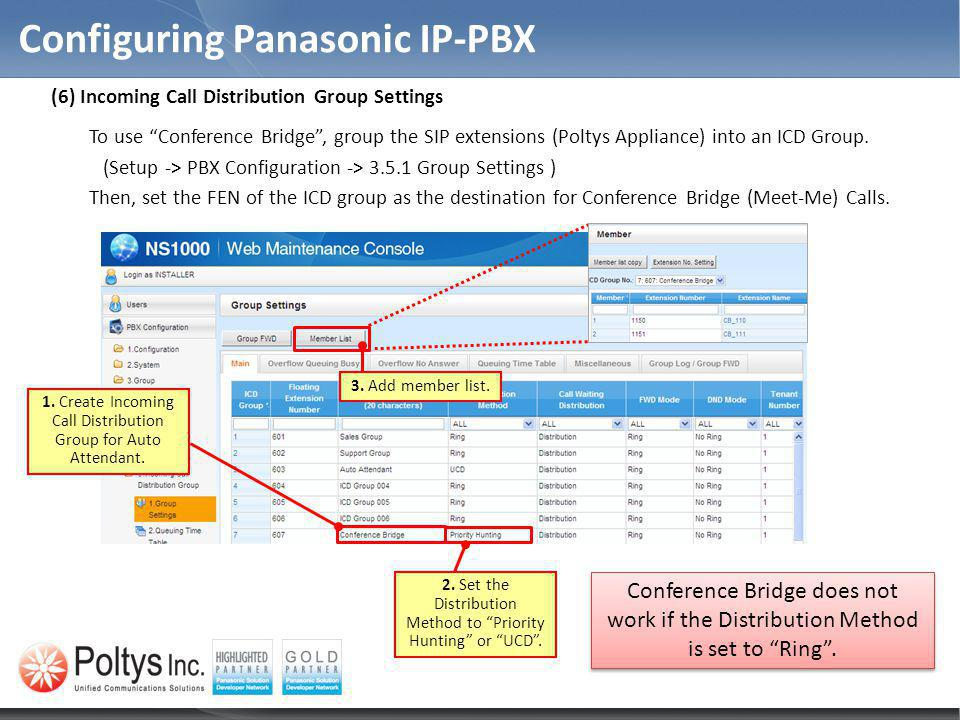 Configuring Panasonic IP-PBX