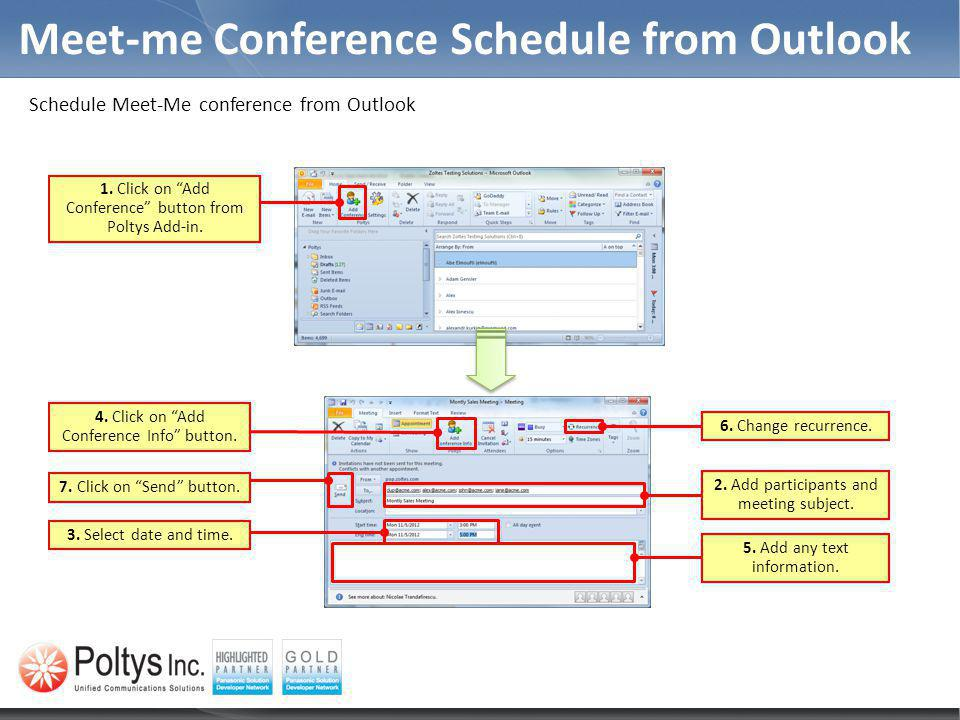 Meet-me Conference Schedule from Outlook