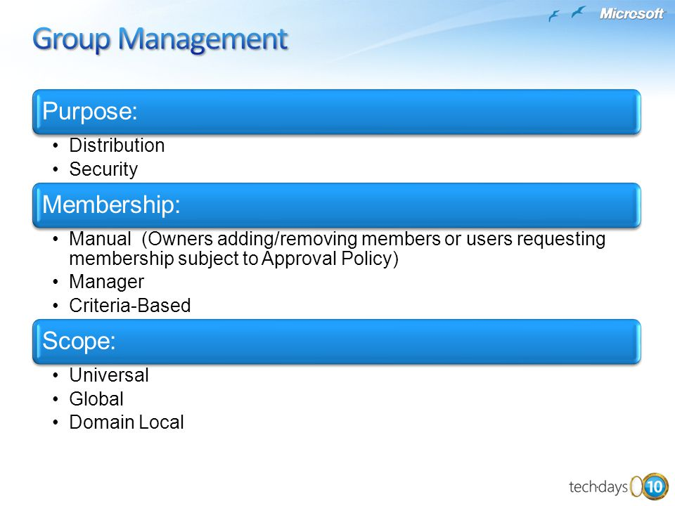 Group Management Purpose: Membership: Scope: Distribution Security