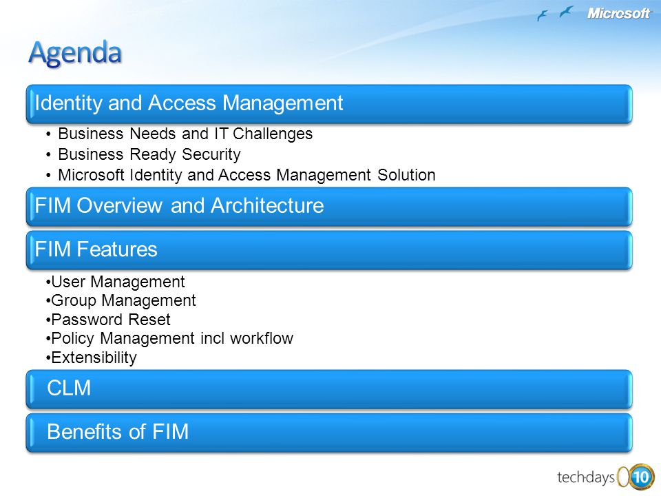Agenda Identity and Access Management FIM Overview and Architecture