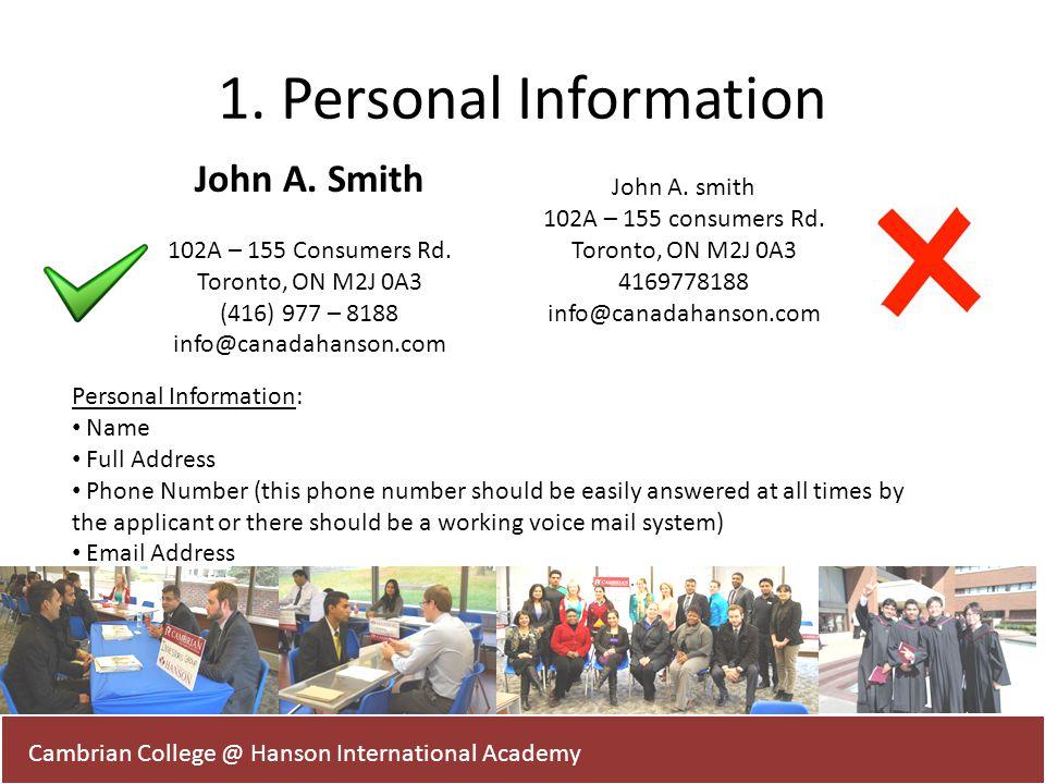 1. Personal Information John A. Smith John A. smith