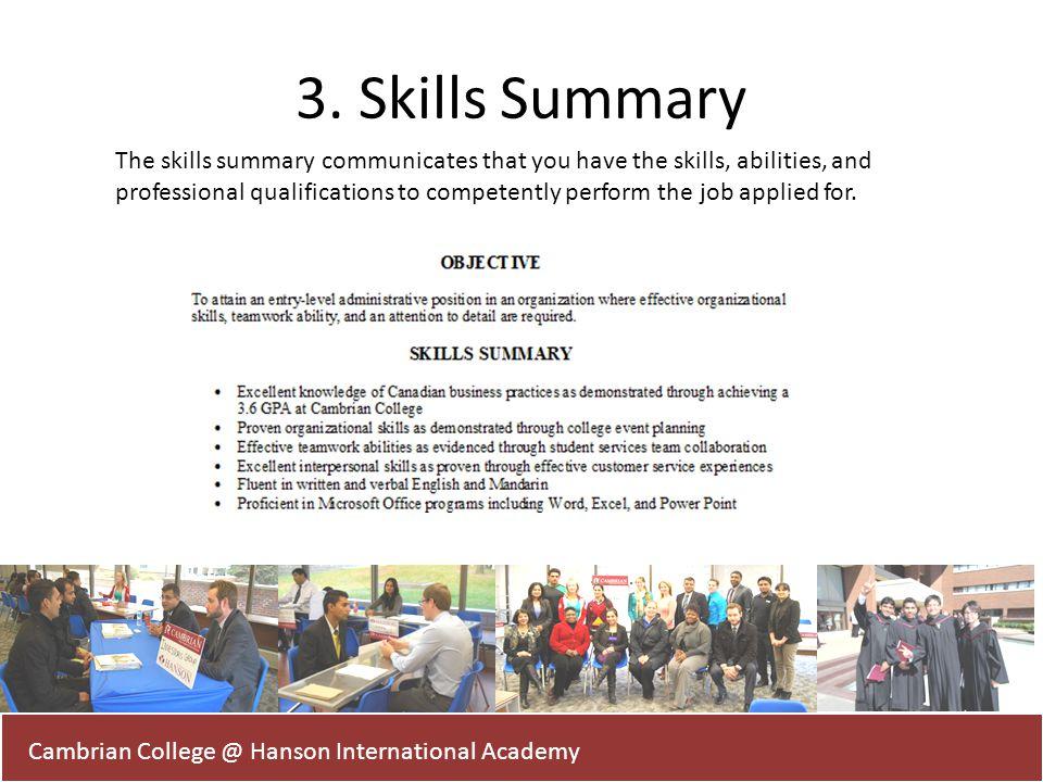 3. Skills Summary