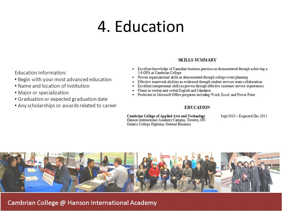 4. Education Cambrian College @ Hanson International Academy